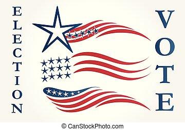 ベクトル, アメリカ人, セット, 旗, イラスト