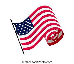 ベクトル, アメリカ人, -, 波状, 振ること, flag., 白旗, シンボル, 州, イラスト, america., 国民, 背景, 合併した