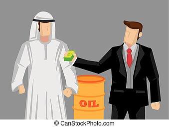 ベクトル, アラビア人, ビジネスマン, オイル, 寄付, 男図解, 概念, 漫画, お金