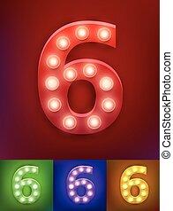 ベクトル, アルファベット, ライト, 古い, ショー, 型, 数, イラスト, typography., 現実的, ランプ, vegas, 6, board.