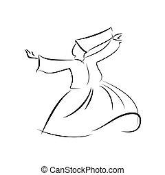 ベクトル, イスラム教, ダンス, dervishes., sufi, ぐるぐる回る, religion., ダンス,...