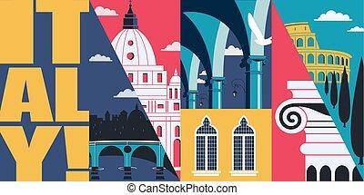 ベクトル, イタリア, イラスト, イタリア, 旅行, postcard., スカイライン, ローマ