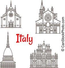 ベクトル, イタリア, ランドマーク, アイコン, イタリアの建築