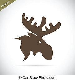 ベクトル, イメージ, の, アメリカヘラジカ, 鹿, 頭