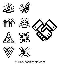 ベクトル, イラストビジネス, チーム 建物, 人々, 概念, teambuilding, 仕事, 管理,...