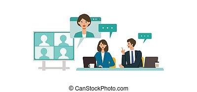 ベクトル, イラストビジネス, teleconference., concept., 持つこと, boardroom., 会議, 会議, 概念, 人々