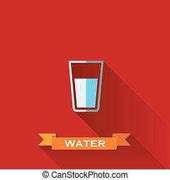 ベクトル, イラスト, ∥で∥, a, 水 の ガラス, 中に, 平ら, デザイン, スタイル