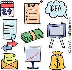 ベクトル, イラスト, の, オブジェクト, ビジネス, doodles