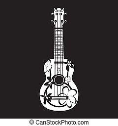 ベクトル, イラスト, の, ハワイ, ギター, 白, テンプレート