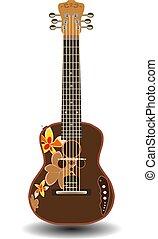 ベクトル, イラスト, の, ハワイ, 電気 ギター, ウクレレ, 隔離された, 白, バックグラウンド。