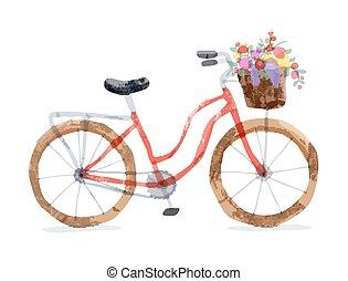 ベクトル, イラスト, の, レトロ, bicycle.