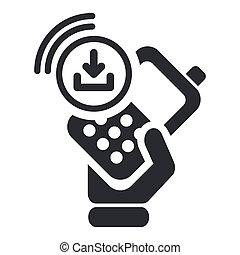 ベクトル, イラスト, の, 単一, 隔離された, ダウンロード, smartphone, アイコン