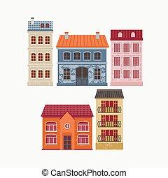 ベクトル, イラスト, の, 建物。, 色, houses.