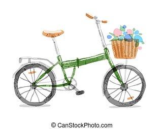 ベクトル, イラスト, の, 折りたたみ, bicycle.