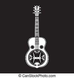 ベクトル, イラスト, の, 白, resonator, ギター