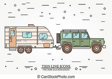 ベクトル, イラスト, の, 自動車, そして, 旅行, trailers., 夏, 旅行, 家族, 旅行, concept., 薄いライン, icon., ベクトル, illustration.