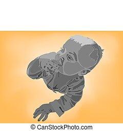 ベクトル, イラスト, の, ∥, 赤ん坊, 中に