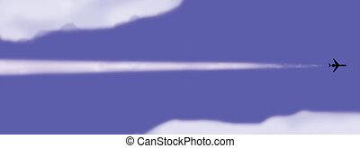 ベクトル, イラスト, の, ∥, 飛行機, 中に, 空
