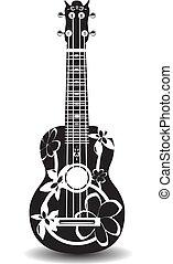 ベクトル, イラスト, の, 黒い、そして白い, ハワイ, ウクレレ, ギター, 中に, 平ら, デザイン