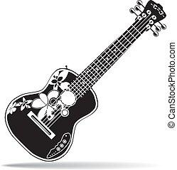 ベクトル, イラスト, の, 黒い、そして白い, ハワイ, 電気である, ウクレレ, ギター, 中に, 平ら, デザイン