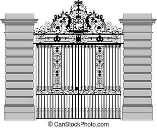 ベクトル, イラスト, の, a, 細工した鉄のゲート