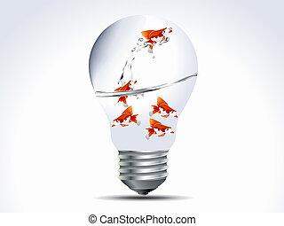 ベクトル, イラスト, の, fish, 中に, ∥, 電球