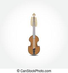 ベクトル, イラスト, の, resonator, ビオラ, ギター