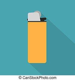 ベクトル, -, イラスト, より軽い, 黄色, アイコン, タバコ