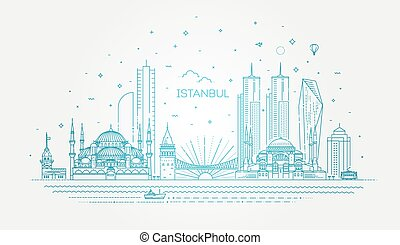 ベクトル, イラスト, イスタンブール, skyline.