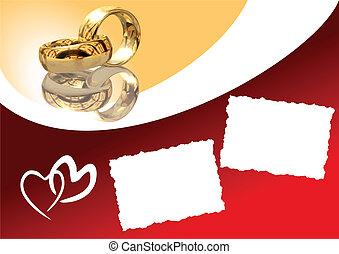 ベクトル, イラスト, カード, 結婚式