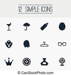 ベクトル, イラスト, セット, の, 単純である, 優雅さ, icons., 要素, 金, ネックレス, パラソル, styler, そして, 他, synonyms, hairdressing, 鏡, そして, perfume.