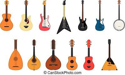 ベクトル, イラスト, セット, の, 弦楽器, 遊び, によって, 引っぱる, ∥, ひも
