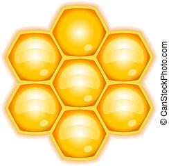 ベクトル, イラスト, ハチの巣