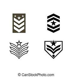ベクトル, イラスト, ロゴ, アイコン, 軍, デザイン