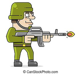 ベクトル, イラスト, 兵士, 撃つ, 銃, 機械