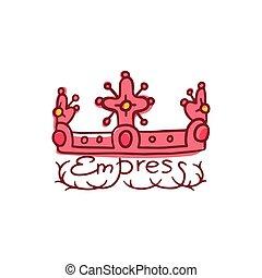 ベクトル, イラスト, 女王, ∥あるいは∥, 女帝, 単語, isolated., 王冠, いたずら書き, 王