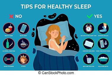 ベクトル, イラスト, 平和に, infographics, rules., 夜, よい, 睡眠, 健康, 女の子, ...