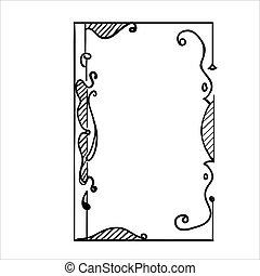 ベクトル, イラスト, 引かれる, 装飾用である, フレーム, 型, -, 手
