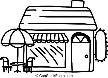 建物 ビストロ レストラン イラスト 明るい ベクトル 旗 建物