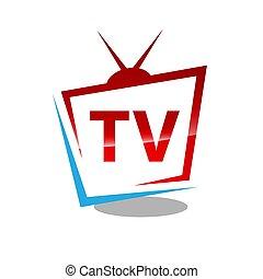 ベクトル, イラスト, 抽象的, ロゴ, デザイン, tv, グラフィック, モニター