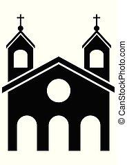 ベクトル, イラスト, 教会