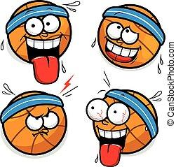 ベクトル, イラスト, 漫画, basketballs.
