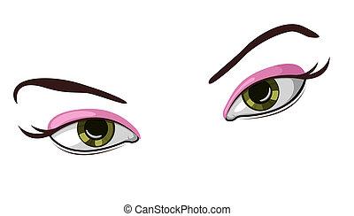 ベクトル, イラスト, 目, 美しい