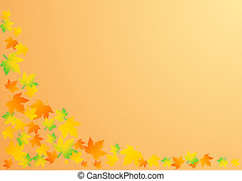 ベクトル, イラスト, ∥, 秋, オレンジ背景, ∥で∥, 葉