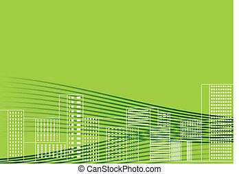 ベクトル, イラスト, 緑, 都市