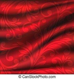 ベクトル, イラスト, 織物, 背景, ひだのある布, backgrounds., 絹, 赤