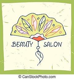 ベクトル, イラスト, 美しさ, salon.