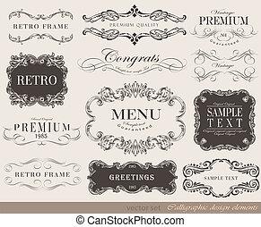 ベクトル, イラスト, 要素, calligraphic