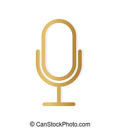 ベクトル, イラスト, 金, マイクロフォン, icon-