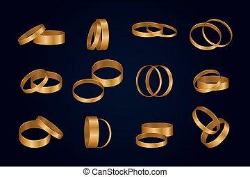 ベクトル, イラスト, 金, rings., セット, 結婚式
